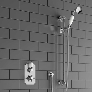 Corto Traditional Concealed Thermostatic Shower Valve & Slide Rail Kit