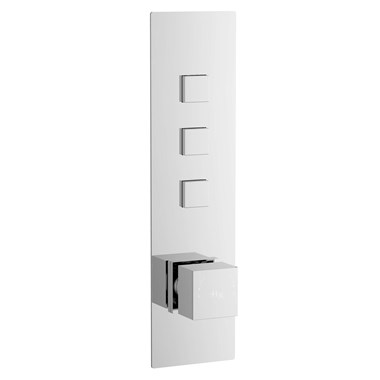 Hudson Reed Ignite Square Three Outlet Push Button Concealed Shower Valve