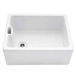 Caple Single Bowl White Ceramic Belfast Sink with Weir Overflow - 595 x 455mm