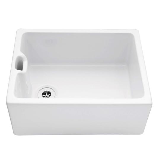 Caple Single Bowl White Ceramic Belfast Sink With Weir Overflow 595 X 455mm Tap Warehouse