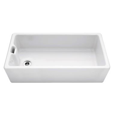 Caple Belfast Extra Large Single Bowl White Ceramic Sink with Weir Overflow - 915 x 460mm