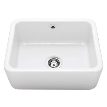 Caple Butler Single Bowl White Ceramic Kitchen Sink - 595 x 460mm