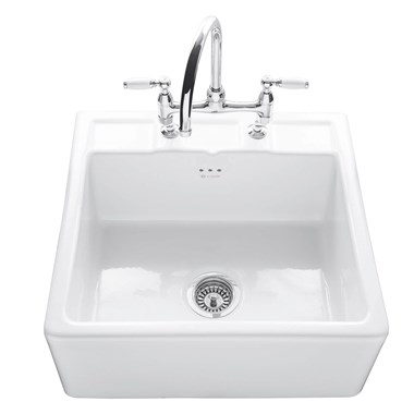 Caple Butler Single Bowl White Ceramic Kitchen Sink with 2 Tap Holes - 595 x 547mm