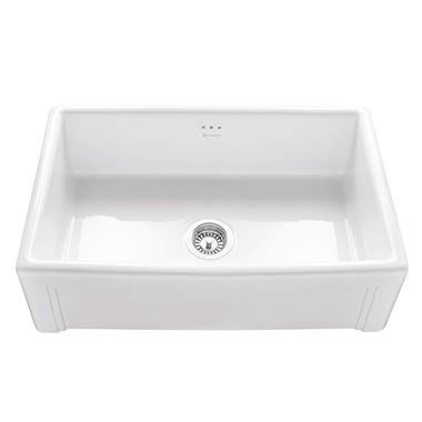 Caple Belfast Large Single Bowl White Ceramic Kitchen Sink - 760 x 460mm