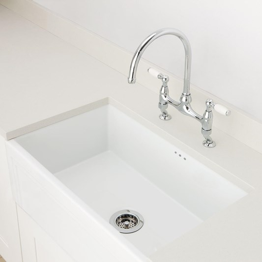 Caple Belfast Large Single Bowl White Ceramic Kitchen Sink