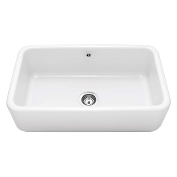 Caple Butler Large Single Bowl White Ceramic Kitchen Sink - 795 x 460mm