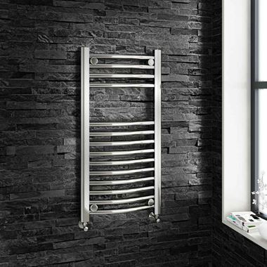 Brenton Chrome Curved Heated Towel Radiator - 22mm - 800 x 400mm