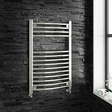 Brenton Chrome Curved Heated Towel Radiator - 22mm - 800 x 500mm