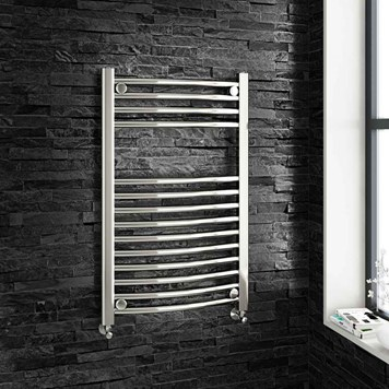 Brenton Chrome Curved Heated Towel Radiator - 22mm - 800 x 600mm