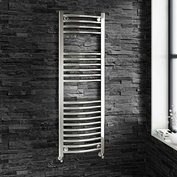 Brenton Chrome Curved Heated Towel Radiator - 22mm - 1200 x 400mm