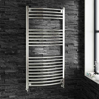 Brenton Chrome Curved Heated Towel Radiator - 22mm - 1200 x 600mm