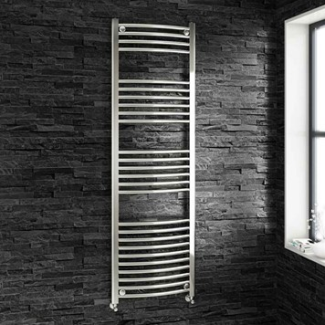 Brenton Chrome Curved Heated Towel Radiator - 22mm - 1600 x 500mm