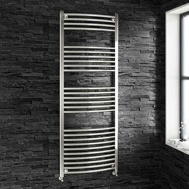 Brenton Chrome Curved Heated Towel Radiator - 22mm - 1600 x 600mm