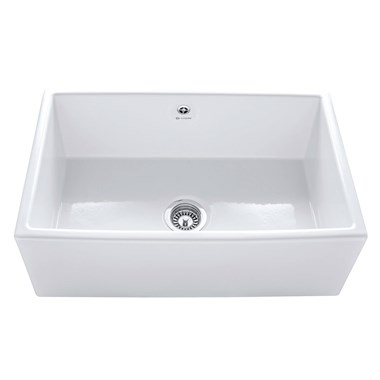 Caple Large Single Bowl Farmhouse White Ceramic Kitchen Sink - 762 x 457mm