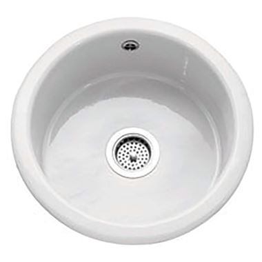 Caple Warwickshire Single Bowl Inset or Undermount White Ceramic Round Kitchen Sink - 460 x 460mm