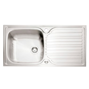 Caple Crane 1 Bowl Satin Stainless Steel Sink & Waste Kit with Reversible Drainer - 965 x 510mm