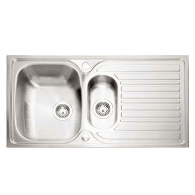 Caple Crane 1.5 Bowl Satin Stainless Steel Sink & Waste Kit with Reversible Drainer - 965 x 510mm