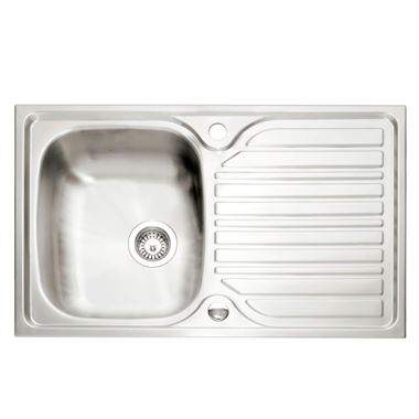 Caple Crane 1 Bowl Satin Stainless Steel Sink & Waste Kit with Reversible Drainer - 800 x 510mm