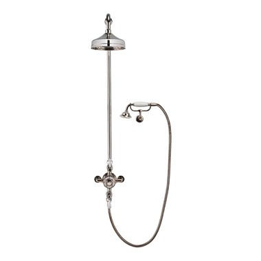 Crosswater Belgravia Multifunction Shower Valve with Cradle Handset Kit & Fixed Shower Head - 300mm Nickel Shower Head