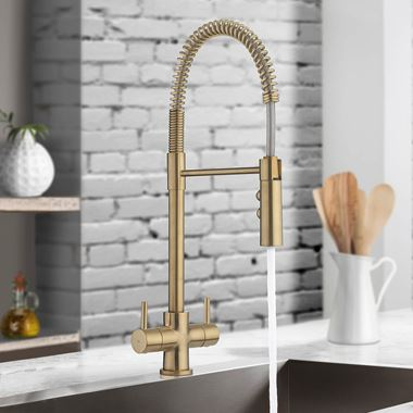 Crosswater Cucina Cook Dual Control Mono Kitchen Mixer with Flexi Spray - Brushed Brass