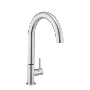 Crosswater Tube Round Side Lever Kitchen Mixer - Stainless Steel