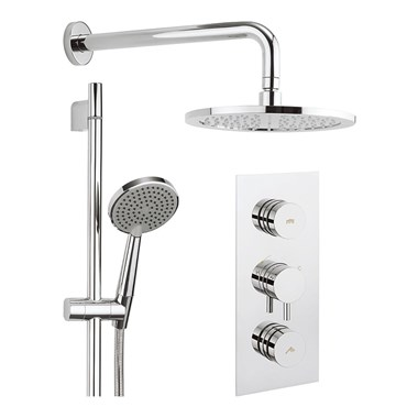 Crosswater Dial Kai Lever 2 Control Shower Valve with Shower Kit, Fixed Head & Ceiling Arm