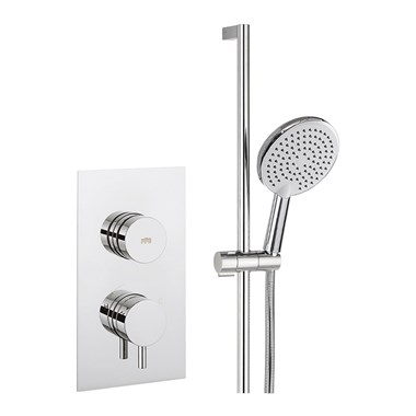 Crosswater Dial Kai Lever 1 Outlet Concealed Shower Valve with Slide Rail Kit and Handset