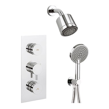 Crosswater Dial Kai Lever 2 Outlet Concealed Shower Valve with Fixed Shower Head and Shower Handset