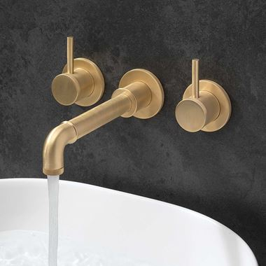 Crosswater MPRO Industrial 3 Hole Wall Mounted Basin Mixer Tap - Unlacquered Brushed Brass