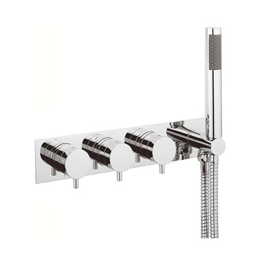 Crosswater Kai Lever Concealed Triple Control Thermostatic Shower Valve with 3 Outlets & Handset Kit