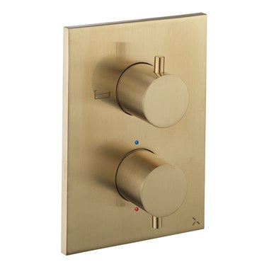 Crosswater MPRO Thermostatic 2 Outlet Bath Shower Valve - Crossbox Technology - Brushed Brass