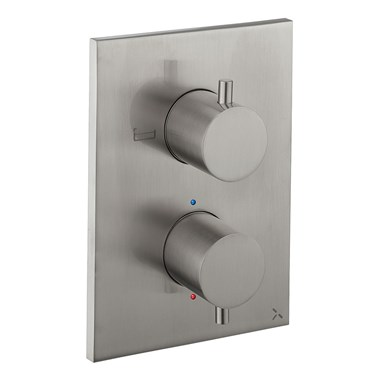 Crosswater MPRO Thermostatic 2 Outlet Bath Shower Valve - Crossbox Technology - Stainless Steel Effect