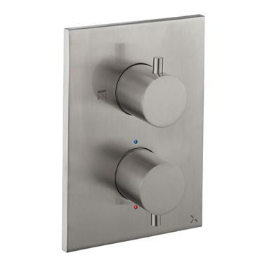 Crosswater MPRO Thermostatic 2 Outlet Shower Valve - Crossbox Technology - Stainless Steel Effect