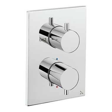 Crosswater MPRO Thermostatic 2 Outlet Bath Shower Valve - Crossbox Technology - Chrome