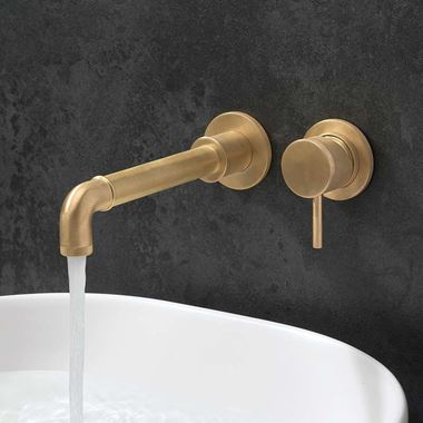 Crosswater MPRO Industrial 2 Hole Wall Mounted Basin Mixer Tap - Unlacquered Brushed Brass