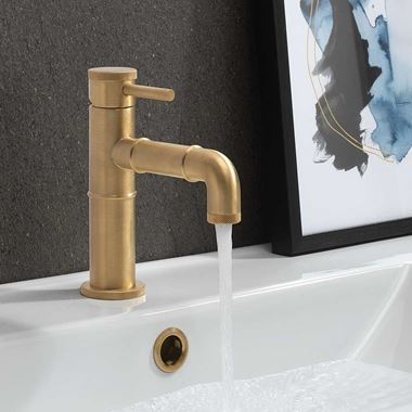 Crosswater MPRO Industrial Basin Mixer Tap - Unlacquered Brushed Brass