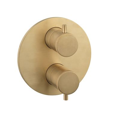 Crosswater MPRO Industrial Thermostatic 2 Outlet Shower Valve - Crossbox Technology - Unlacquered Brushed Brass