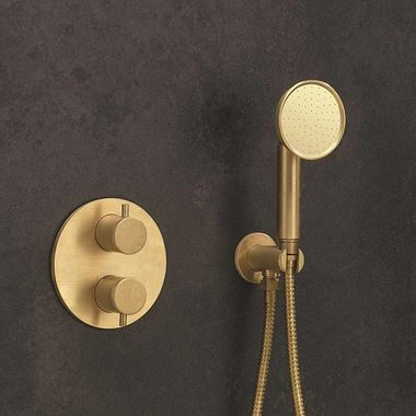 Crosswater MPRO Industrial Wall Outlet, Shower Handset & Hose - Unlacquered Brushed Brass