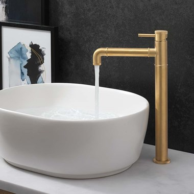 Crosswater MPRO Industrial Tall Basin Mixer Tap - Unlaquered Brushed Brass