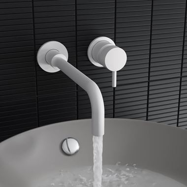 Crosswater MPRO Wall Mounted Basin Mixer Tap - Matt White