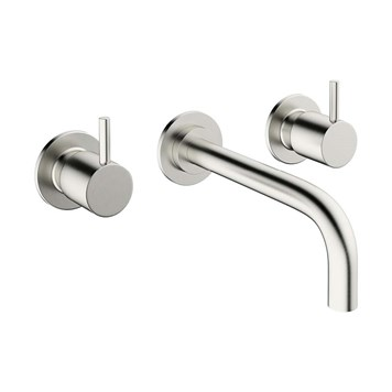 Crosswater Mike Pro Wall Mounted Basin Mixer with Twin Levers & Spout - Brushed Stainless Steel