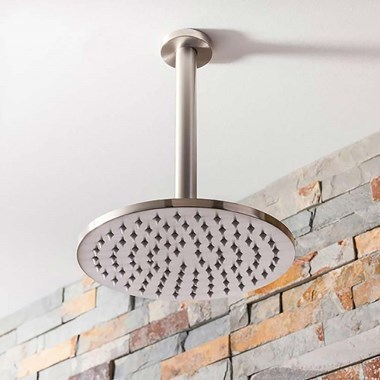 Crosswater Mike Pro 200mm Round Fixed Shower Head - Brushed Stainless Steel