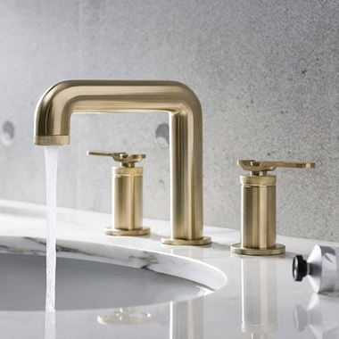Crosswater Union 3 Hole Basin Mixer Tap with Levers - Brushed Brass