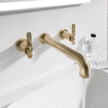 Crosswater Union 3 Hole Wall Mounted Basin Mixer Tap with Levers - Brushed Brass