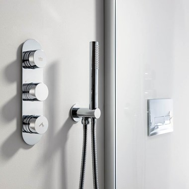 Crosswater Designer Shower Kit with Hose, Handset & Integrated Wall Outlet with Handset Attachment