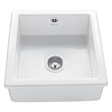 Caple Square Single Bowl Inset or Undermount White Ceramic Kitchen Sink - 460 x 460mm