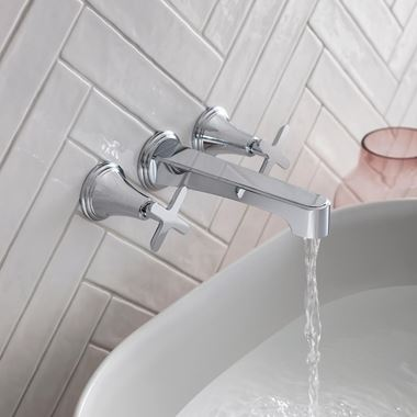 Crosswater Celeste Wall Mounted 3 Hole Basin Mixer