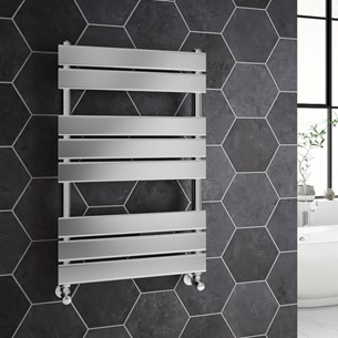 Brenton Sundoro Chrome Straight Heated Designer Towel Rail - H800 x W500mm