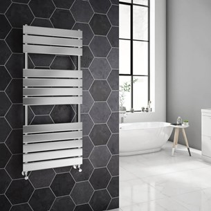 Brenton Sundoro Chrome Straight Heated Designer Towel Rail - H1200 x W500mm