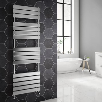 Brenton Sundoro Chrome Straight Heated Designer Towel Rail - H1600 x W500mm